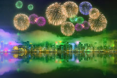 Beautiful fireworks in Hong Kong. Island, skyline and Financial district, China Stock Photo