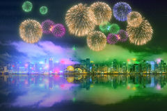 Beautiful fireworks in Hong Kong. Island, skyline and Financial district, China Royalty Free Stock Photo