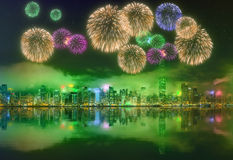 Beautiful fireworks in Hong Kong Royalty Free Stock Image