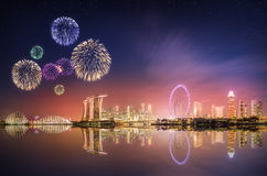 Beautiful fireworks in Marina Bay, Singapore Skyline Royalty Free Stock Image