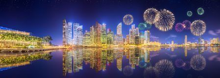 Beautiful fireworks in Marina Bay, Singapore Skyline Stock Photo