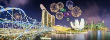 Beautiful fireworks in Marina Bay, Singapore Skyline Stock Photos