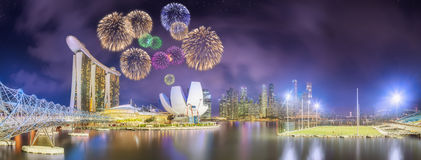 Beautiful fireworks in Marina Bay, Singapore Skyline Stock Images