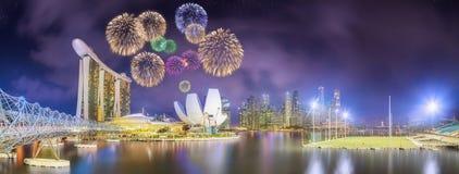 Beautiful fireworks in Marina Bay, Singapore Skyline Stock Images
