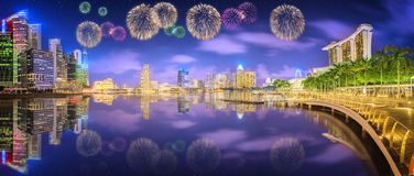 Beautiful fireworks in Marina Bay, Singapore Skyline Royalty Free Stock Images