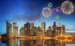 Beautiful fireworks in Marina Bay, Singapore Skyline Royalty Free Stock Photos