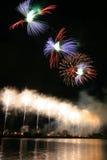 Beautiful fireworks during New Year's Eve celebration in Riga, Latvia Stock Photo