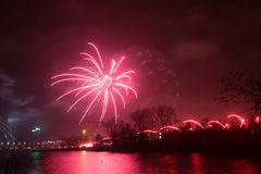 Beautiful fireworks during New Year's Eve celebration in Riga, Latvia Stock Photo