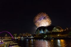 Fireworks at Newcastle Quayside on New Year`s Eve. Beautiful Fireworks at Newcastle Quayside on New Year`s Eve Royalty Free Stock Images