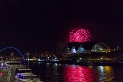 Fireworks at Newcastle Quayside on New Year`s Eve. Beautiful Fireworks at Newcastle Quayside on New Year`s Eve Royalty Free Stock Photography