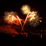 Beautiful fireworks in a night skies Royalty Free Stock Photo