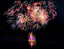 Beautiful fireworks in a night skies Stock Photography