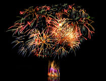 Beautiful fireworks in a night sky Royalty Free Stock Images