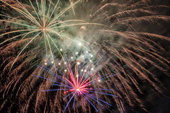 Beautiful fireworks at night Stock Photography
