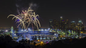 Beautiful fireworks over the famous Dodger Stadium Stock Photo