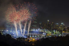Beautiful fireworks over the famous Dodger Stadium Royalty Free Stock Photos