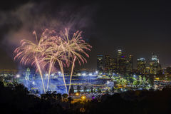 Beautiful fireworks over the famous Dodger Stadium Royalty Free Stock Photography