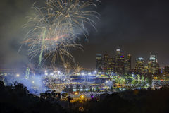 Beautiful fireworks over the famous Dodger Stadium Royalty Free Stock Photo