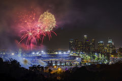 Beautiful fireworks over the famous Dodger Stadium Royalty Free Stock Images