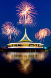 Beautiful fireworks over the park Royalty Free Stock Photos