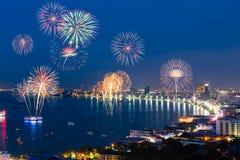 Beautiful fireworks over pattaya beach. Top view,Thailand Stock Photos