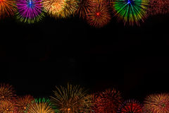 Beautiful fireworks postcard black background Royalty Free Stock Photo
