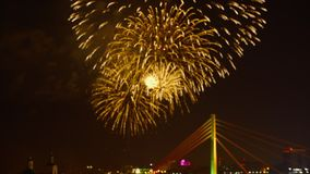 Beautiful fireworks show on city holiday in dark sky. Bright fireworks on celebration day. Fireworks lighting night sky. On blurred urban background stock video