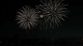 Beautiful fireworks show in the night sky. Hd stock footage