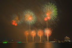 Beautiful Fireworks in The Sky Stock Photography