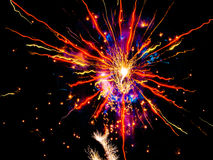 Beautiful fireworks trails sparkle smoke new year Royalty Free Stock Photography