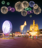 Beautiful fireworks under Amusement Park and Temple at Tibidabo Stock Photography
