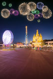 Beautiful fireworks under Amusement Park and Temple at Tibidabo Royalty Free Stock Images