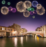 Beautiful fireworks under canals in Venice Royalty Free Stock Images