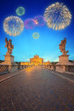 Beautiful fireworks under Castle and Bridge of the Holy Angel in Rome Royalty Free Stock Photos