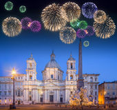 Beautiful fireworks under Four Rivers fountain and church Sant'Agnese Stock Photos