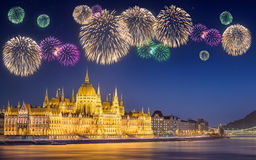 Beautiful fireworks under hungarian Parliament Stock Images