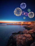 Beautiful fireworks under Ibiza island night view Stock Photography