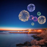 Beautiful fireworks under Ibiza island night view Stock Photo