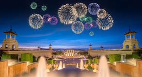 Beautiful fireworks under Magic Fountain in Barcelona Stock Images