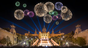 Beautiful fireworks under Magic Fountain in Barcelona Stock Photo