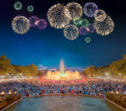 Beautiful fireworks under Magic Fountain in Barcelona Stock Photos