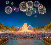Beautiful fireworks under Magic Fountain in Barcelona Royalty Free Stock Images