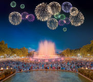 Beautiful fireworks under Magic Fountain in Barcelona Stock Photography