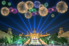 Beautiful fireworks under Magic Fountain in Barcelona. Beautiful fireworks under Magic Fountain light show in Barcelona, Spain stock image