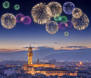 Beautiful fireworks under Ponte Vecchio Florence Royalty Free Stock Photos