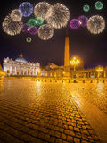 Beautiful fireworks under  Vatican. Saint Peter's Square at night, Rome Royalty Free Stock Image