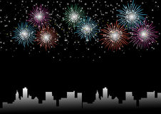 Beautiful fireworks. Beautiful vector fireworks on a black background -Celebration Stock Photo