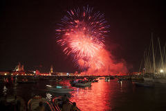 Beautiful fireworks in Venice, Italy Stock Images
