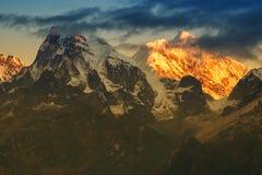 Beautiful first light from sunrise on Mount Kanchenjugha, Himalaya, Sikkim, India. Royalty Free Stock Photos