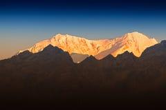 Beautiful first light from sunrise on Mount Kanchenjugha, Himalaya, Sikkim, India. Stock Photo